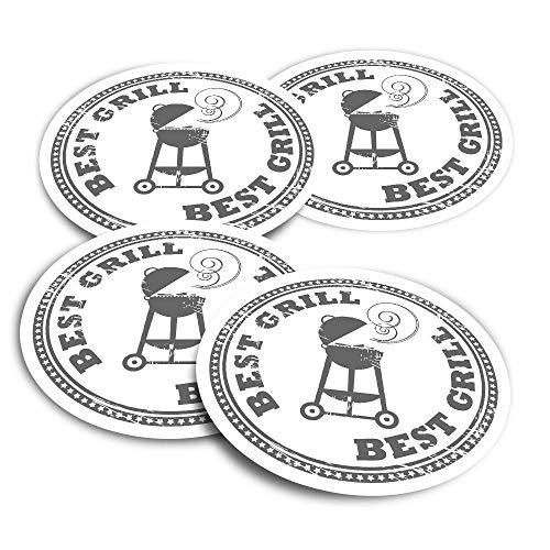 Adesivi in vinile (set di 2) 10 cm – BBQ Best Grill Summer Fun Decalcomanie per computer portatili, tablet, bagagli, libri di rottami, frigoriferi #7149