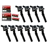 MAS Ignition Coil DG508 with MOTORCRAFT SP479 Compatible with Ford 4.6L 5.4L V8 DG457 DG472 DG491 CROWN VICTORIA EXPEDITION F-150 F-250 MUSTANG LINCOLN MERCURY EXPLORER 3W7Z-12029-AA (Set of 10 BLACK)
