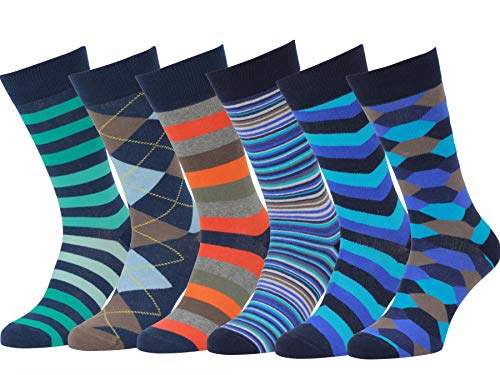 Easton Marlowe Mens Dress Socks - Fun Colorful Socks for Men - Cotton Patterned Fashion Mens Socks - Dark Navy Blue Teal Orange, 6 Pack #17 Size 10-13