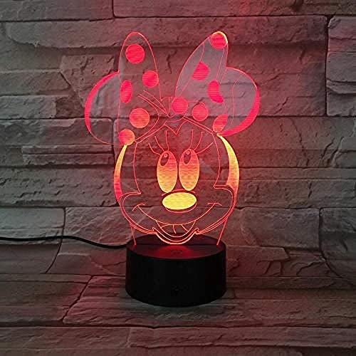 3D Ilusión óptica Lámpara LED Lámpara de luz nocturna Minnie Mouse lámpara de escritorio creativa para cumpleaños Con carga USB, control táctil de cambio de color colorido