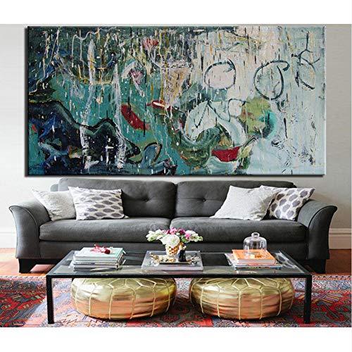 SDFSD Abstrakte schwere Kunst Graffiti Ölgemälde Wandkunst Malerei Leinwanddruck Abstraktes Bild für Wohnzimmer Home Decor No Frame 50 * 100cm