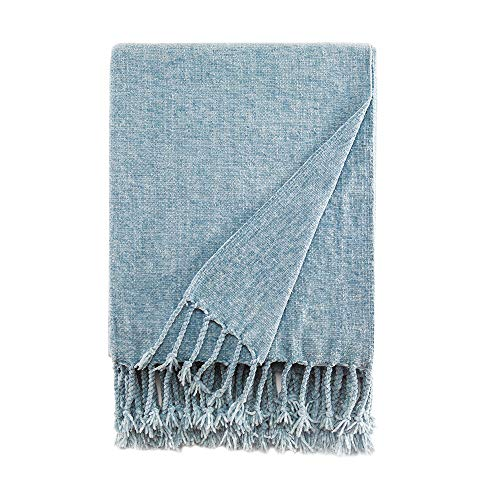Bourina Chenille Throw Blanket with Decorative Fringe for Couch Sofa Chair Blanket (50×60 Inches) Light Blue