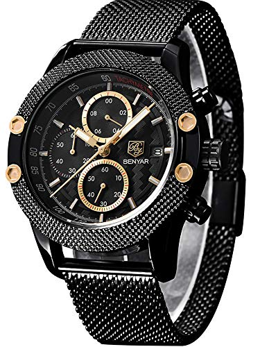 BENYAR Men Watch Fashion Chronograph Analog Quartz 30M Waterproof Business Casual Sport Mesh Band Wrist Watch Clock Timepiece Gifts for Father,Son,Friend