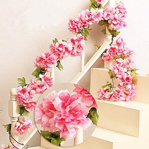 MZMing Blumenkranz 2 Stück x 235cm Künstliche Blume Rattan Dekoration Hochzeit Hausgarten Party Kranz Simulation Seidenblume Reben Simulation Dekoration-Rot