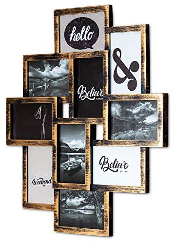 levandeo Bilderrahmen Collage 50x55cm 10 Fotos 10x15cm Kupfer Schwarz Industrial Industrie Deko Glasscheiben