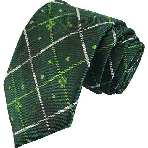 KissTies Shamrock Tie Mens Green Plaid Necktie St. Patrick's Day Ties