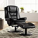 Aden Faux Leather Black Recliner Chair and Ottoman - Elm Lane