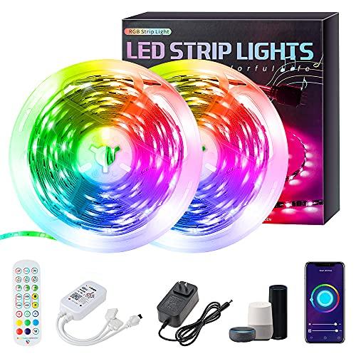 Plartree Striscia LED 10M Wifi,Impermeabile Colorate 5050 RGB Strisce di Luci Bluetooth Musica Sync LED Strip Controllo APP Telecomando, Compatibile con Alexa Echo e Google per Festa, TV, Decorazione