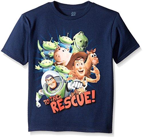 Disney Boys' Little Boys' Toy Story Action Heroes Short Sleeve T-Shirt, Navy, Medium/5/6