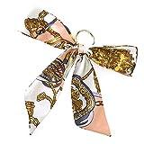 [ジュエルボックス] JewelVOX キーホルダー 全23色 7タイプ スカーフ リボン モチーフ バックチャーム バッグチャーム ベルト柄 キーホルダー バック用スカーフ スカーフ柄1 E