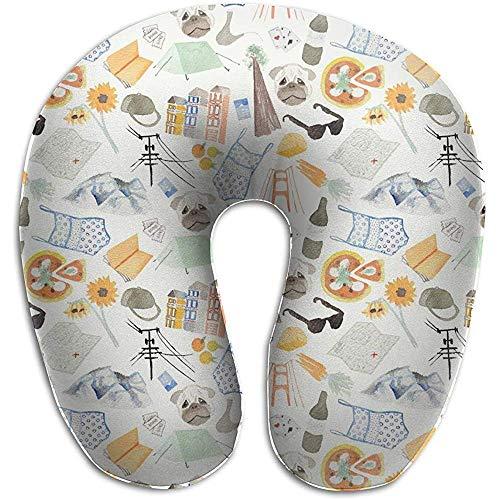 Pizza Sonnenbrille Badeanzug Flora U-förmigen Nackenkissenbezug Memory Foam, einzigartige Reise Rest Kissen Schmerzen, atmungsaktiv weich komfortabel einstellbar