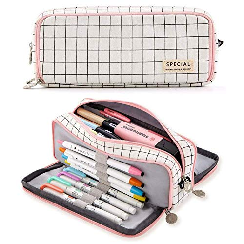 Pencil Case,Big Capacity 3 Compartments Canvas Pen Pencil Pouch Double Open Pencil Pouch Makeup Bag Stationery Storage Case,for Student College Middle High School Supplies 21x8.5x5cm(Plaid Pink A)