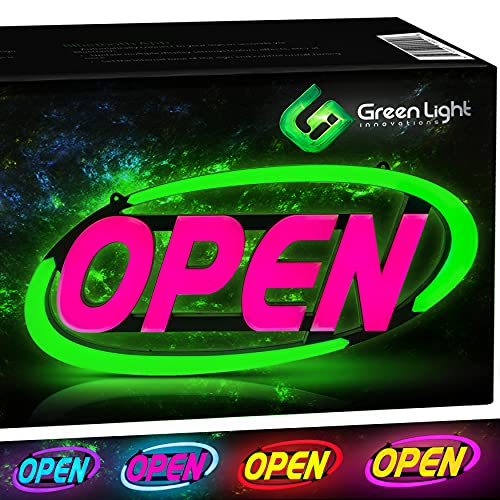 GLI Led Open Sign for Business – Stand Out with 64 Super-Bright Color Combos to Match Your Brand, Programmable App – Neon Flash, or Scroll – 15 x 32 inch