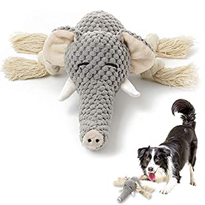 KOL Plush Dog Toy, Squeaky Interactive Puppy Dog Toys with Crinkle Paper, Durable Chew Toys for Small and Medium Dogs with Elephant Shape