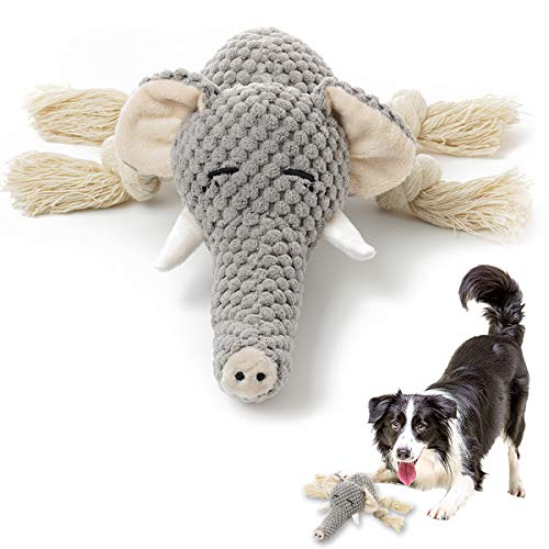 Plush Dog Toy, Squeaky Interactive Puppy Dog Toys with Crinkle Paper, Durable Chew Toys for Small and Medium Dogs with Elephant Shape