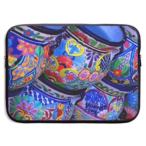 Mouwtas voor laptoproman mooie kom kleurrijke aardewerk afdrukken - Stofdicht en schokbestendig Computer Rits Sleeve Tassen Compatibel voor Notebook/Ultrabook 13 Inch, Wasbare Aktetassen voor werk
