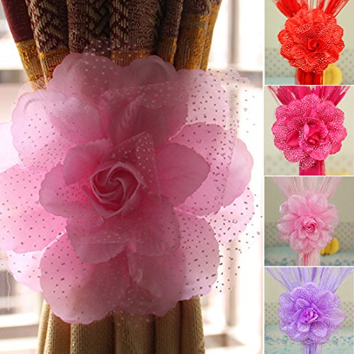 Best Peony Flower Curtain Clip-on Tie Backs Holdback Tieback Holder Panel Home Decor Tankini Swimsuit Bikinis Swimwear Pink