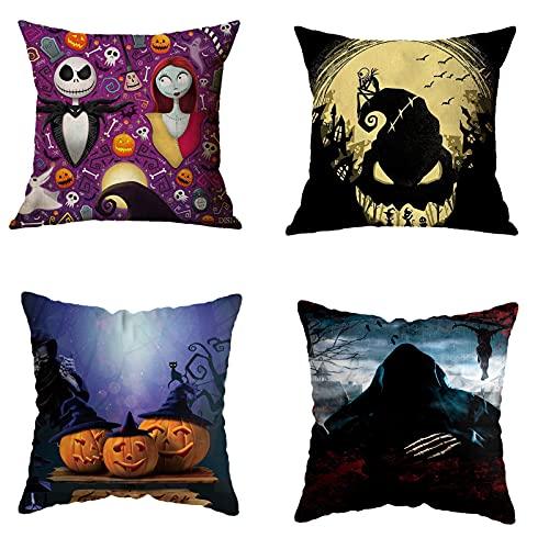 JQAM Funda de Almohada con diseño de Calabaza y espantapájaros de Esqueleto de Halloween, Funda de cojín de Franela Suave de 18 x 18 Pulgadas para sofá, Juego de 4 (Color : F1)