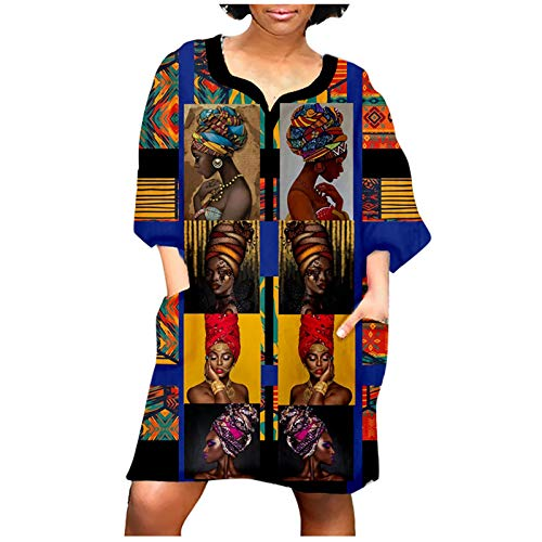 Women Fashion African Vintage Print Middle Sleeve V Neck Oversized Casual Mini Party Dress with Pockets Blue