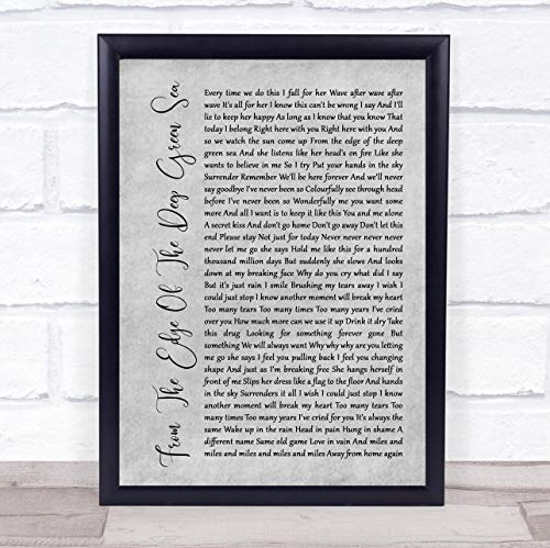 Diseño de huellas dactilares de The Edge Of The Deep Green Sea Rustic Script Grey Song Lírico Print Framed Rose Gold Large