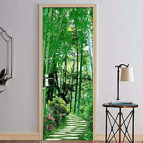 PyUK deur, Chinese stijl, groen, bamboe, zelfklevend, voor woonkamer, slaapkamer, 3D, papier, PVC, waterdicht, zelfklevend, brandvertragend 95x215cm