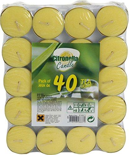 Provence Outillage-Candela citronella 08261 con Coppa in Alluminio, 40 Pezzi, Colore: Giallo