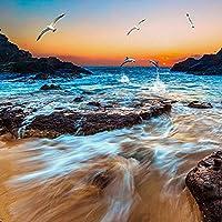 カスタム3D写真の壁紙砂浜海景海辺の風景壁画リビングルームレストランキッチン壁紙-250x170cm