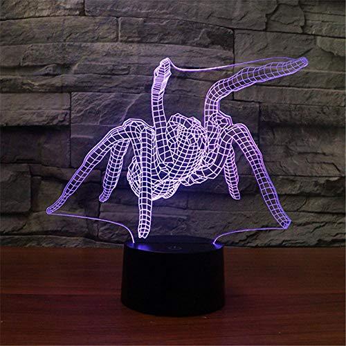 QHDHGR Luz nocturna de araña 3D,lámpara de ilusión óptica para decoración del hogar y para codormir, mando a distancia con 7 colores cambiantes, ideal como regalo de cumpleaños para niños