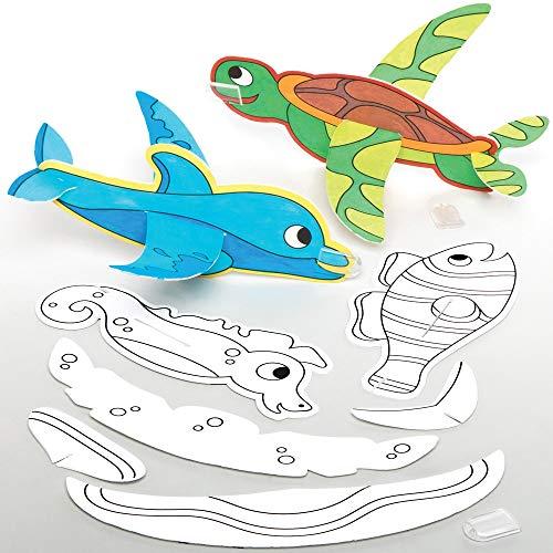Baker Ross Inkleurbare Zwevende Zeedieren (10 stuks) Knutselspullen en Knutselsets voor Kinderen