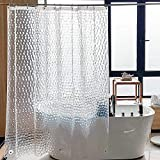 SACHUKOT Cortina Baño Pesado 180x 180cm Impermeable Antimoho EVA Cortina de Ducha Larga Sin PVC Cortina Bañera 3D Efecto Semi-Transparente Lavable Shower Curtian