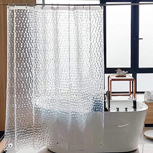 SACHUKOT Halbdurchsichtige Duschvorhang Wasserdicht Anti schimmel mit 12 Haken,PVC-frei Umweltfre&lich Badvorhänge Waschbar Shower Curtains 3D Wasserdicht 180 * 180cm