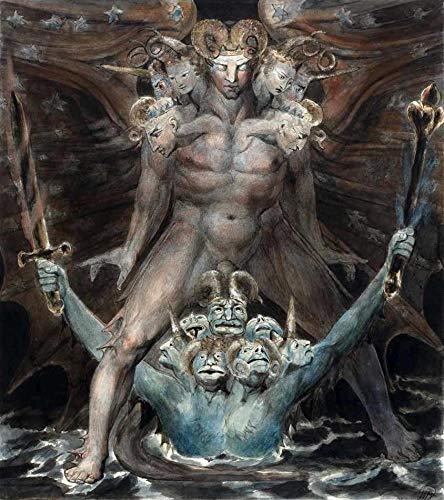 O Grande Dragão Vermelho e a Besta do Mar de William Blake - 75x84 - Tela Canvas Para Quadro