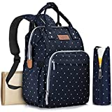 Diaper Bag Backpack with Changing Pad and Bottle Bag, OUYOOLE Waterproof Baby Travel Backpack Nappy Bags for Girls Boys Women or Men, Blue with White Dots