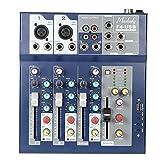 Muslady Consola Mezcladora de 4 Canales Función USB de 3 Bandas EQ Fantasma 48V con Procesador de Efectos Bulit-in Entrada de Micrófono
