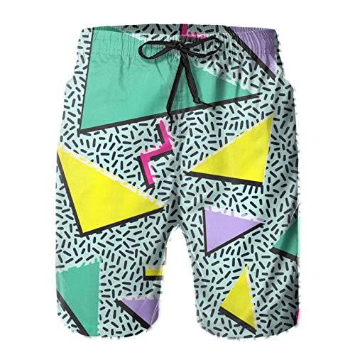 BONLOR Funny 80s Retro Beach Shorts,Men's Summer Casual Shorts Beachwear Sports Swim Trunks Short Surf Shorts -M