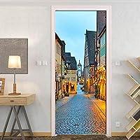 3DドアステッカーHdプリント屋内ドア壁画壁紙取り外し可能な自己接着ビニール壁デカールポスターDiyアーティスト家の装飾小さな町の風景PVC壁画-77cmx200cm
