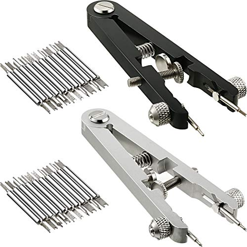 2 Pieces Watch Spring Bar Repair Tool Spring Bar Tweezer Pliers Watch Pin Strap Band Removal Tool Watch Link Remover Set, Black and Silver