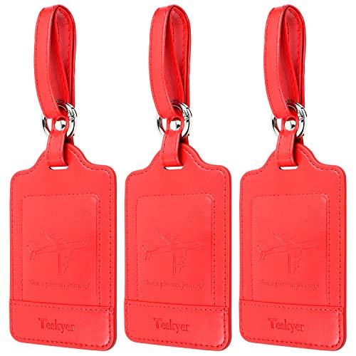 荷物タグ 紛失防止 スーツケースタグ 出張用タグ ネームタグ 番号札 バッグ用ネームタグ レザー 旅行タグ トラベル用 旅行手荷物 ラベル 三枚入り 全部7色(赤色)