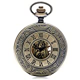 WMYATING Reloj de bolsillo mecánico de bronce steampunk con números romanos vintage, con colgante de cadena de 30 cm