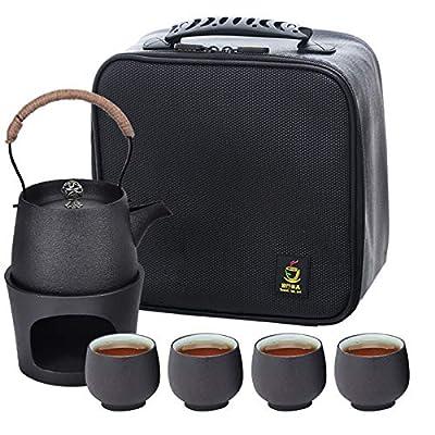 Ceramic Chinese Tea Set Kungfu Tea Pot Cup Set Japanese Tea Set Portable Travel Ceramic Teapot Set with Stove, Tea Tray,Travel Bag Porcelain Teacups for Outdoor Office Picnic Camping