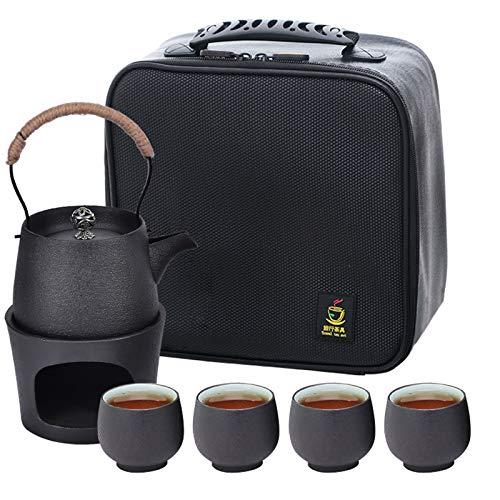 Ceramic Tea Set Ceramic Sake Set Kungfu Tea Pot Cup Set Japanese Tea Set with Warmer Pot, Portable Travel Ceramic Teapot Set with Stove, Teacup, Travel Bag Porcelain Teacups for Outdoor
