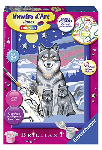 Ravensburger – Numéro d'art petit format– Famille de loups – loisir créatif – kit de peinture acrylique – activite détente – enfant dès 9 ans – 29667