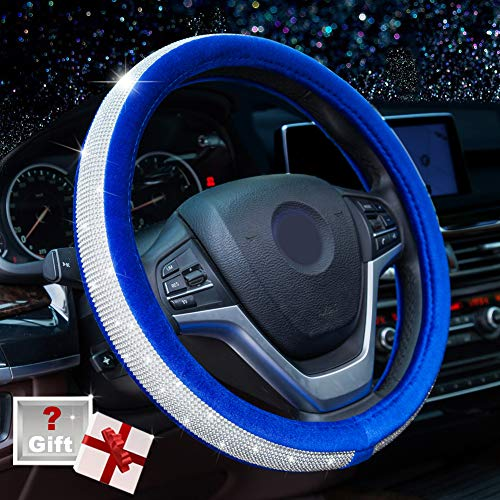 Alusbell Crystal Diamond Steering Wheel Cover Soft Velvet Feel Bling Steering Wheel Cover for Women Universal 15 inch Plush Wheel Cover for Escape...