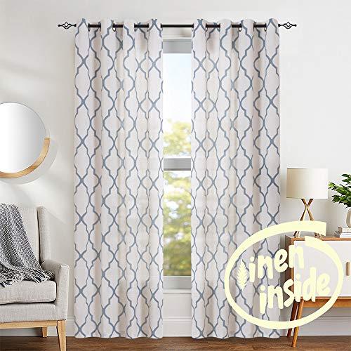 jinchan Moroccan Tile Print Curtains for Living Room Quatrefoil Flax Linen Blend Textured Geometry Lattice Grommet Window Treatment Set for Bedroom 50' W x 84' L 2 Panels Blue
