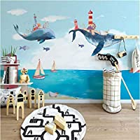 Iusasdz カスタム3D漫画壁画壁紙クリエイティブ水彩地中海クジラ写真壁布子供キッズ寝室壁紙-150X120Cm