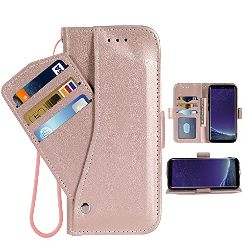 Asuwish Compatible with LG X Charge/Fiesta 2 LTE/X Power 2/X5/LV7 Wallet Case Wrist Strap Lanyard Leather Flip Cover Card Holder Stand Cell Phone Cases for LG-M322 XPower 3 SP320 M327 M322 Rose Gold