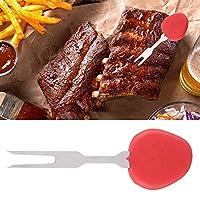 バーベキューフォークバーベキューコーンホルダーフォークパーティーピクニック用ホットドッグフォーク(red)