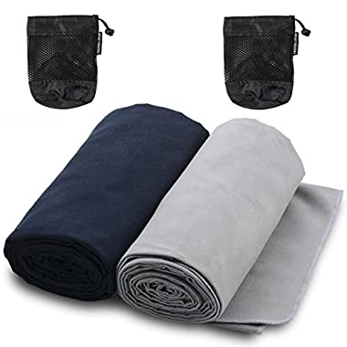 The Friendly Swede Microfiber Towels for Sports, Travel, Swim, Hiking and Camping, 2-pack, Ultralight and Quick Drying Towels