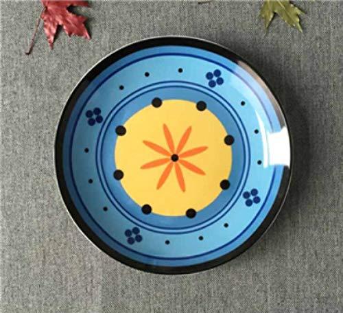 LMMJYF 8 Zoll exotische handbemalte marokkanische Italien Bohemian Style Teller Bunte Salatteller Speisen runde Dekoration Teller Geschenke-2