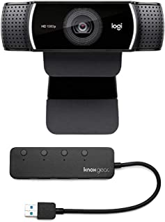 Logitech C922 Pro Stream 1080p Webcam with Knox 4-Port USB 3.0 Hub Bundle (2 Items)